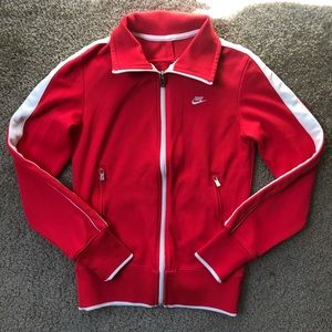 Nike Red Track Jacket w/ White Striped Sleeves- S